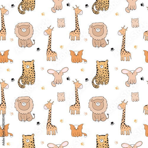 Seamless pattern with cute doodle animals