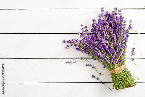 Lavender flowers, bouquet, overhead on white wooden background.