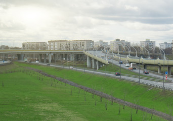 Transport interchange at the intersection with the Tallinn Highway in St. Petersburg.