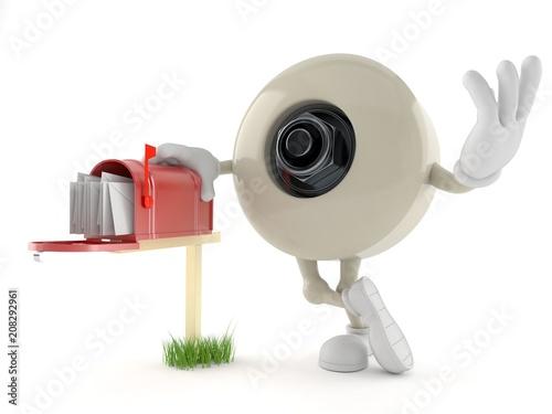 Fotobehang Skateboard Skateboard wheel character with mailbox