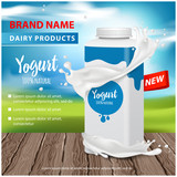 Yogurt ads, Square plastic bottle and round pot with yogurt splash , 3d vector illustration for web or magazine design - 208293526