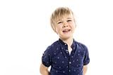 cute five year old boy studio portrait on white background - 208295123