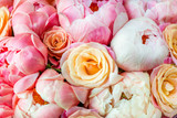 Fresh bunch of pink peonies and roses - 208297173