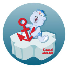 Polar Bear Cub  An Anchor Good Sailor Funny Bearbaby Emblem For Children's Textiles For Children's Albums Packing Toys  Marine Themes Time Of Adventure And Sea Travel Sticker