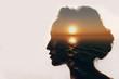 Leinwanddruck Bild - Psychology concept. Sunrise and woman silhouette.