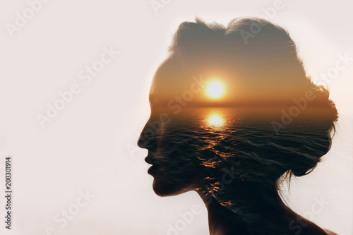 Sticker Psychology concept. Sunrise and woman silhouette.