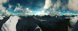 beautiful view of a mountain landscape with clouds at sunset, 3D rendering