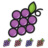 Simple, flat grapes icon. Five color variations. Isolated on white