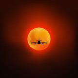 Aircraft at sunset. Vector illustration. Can be used for for travel brochures and etc.