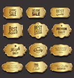 Retro vintage golden frames sale collection vector illustration - 208307550