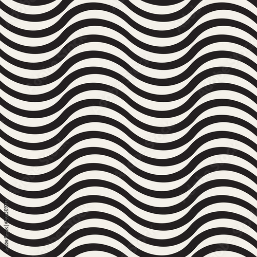 Abstract Stylish Geometric Trendy Zebra Seamless Pattern Background with Wavy Lines Stripes
