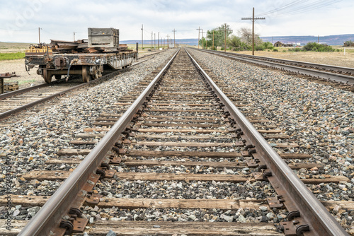 Fotobehang Spoorlijn railroad tracks in desert backcountry of Utah