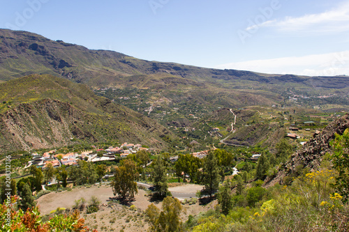 Fotobehang Canarische Eilanden Nice views of small town in valley on Gran Canaria, Spain. Nature landscape in Canary Islands. Sightseeing tour concept
