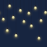 Seamless horizontal glowing bulb garland, decorative light garland on dark background, footer and banner lamps, vector illustration - 208318188