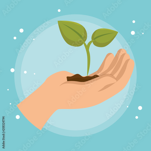 hand lifting plant ecology icon vector illustration design