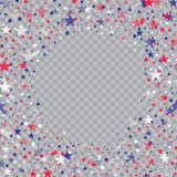 Abstract circle frame with colorful stars on transparent background. Vector. - 208329734