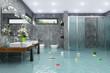 Leinwanddruck Bild - Überschwemmtes modernes Badezimmer - Bad - Dusche - Wasserschaden - Havarie - Hochwasser