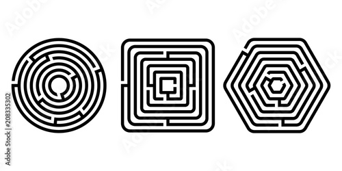 Black and white different shapes maze puzzles set, vector - 208335302