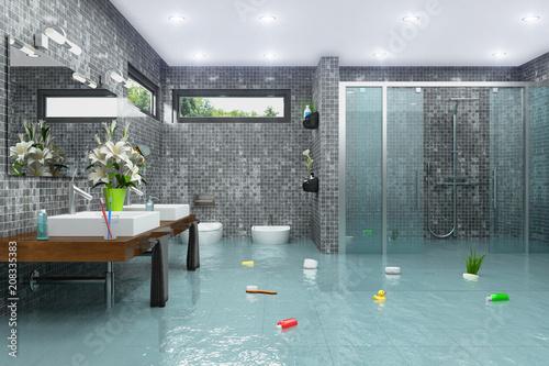 Überschwemmtes modernes Badezimmer - Bad - Dusche - Wasserschaden - Havarie - Hochwasser - 208335383