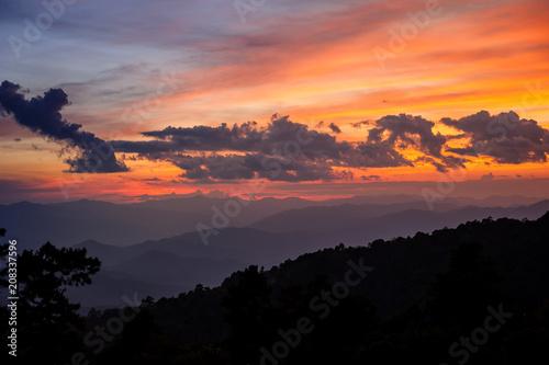 Fotobehang Lavendel Sunrise sky over Huai Nam Dang National Park in Chiang Mai, North of Thailand