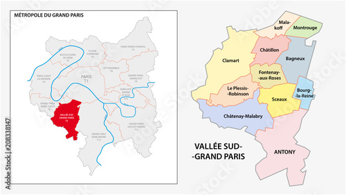 Sticker administrative and political vector map of Vallée Sud Grand Paris, Greater Paris, France