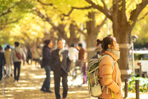 Fotobehang Tokio Autumn color at Jingu at Gaien Ginkgo Avenue a traveler girl sightseeing in there.