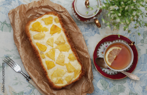 Pineapple Homemade Cheesecake Slice Piece Tea Cup Flowers Dark Background Sweet Desert - 208342711