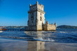Belem tower and reflection, high tide