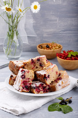 Cake with red and black currant berries