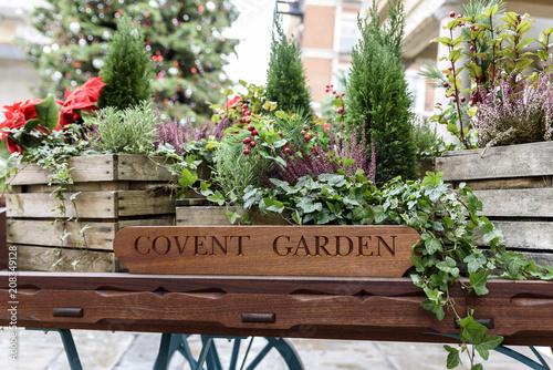 Foto Murales Flora filled cart, advertising London's famous old Flower Market, Covent Garden