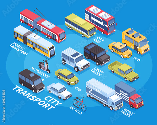Isometric Transport Infographics  - 208354105