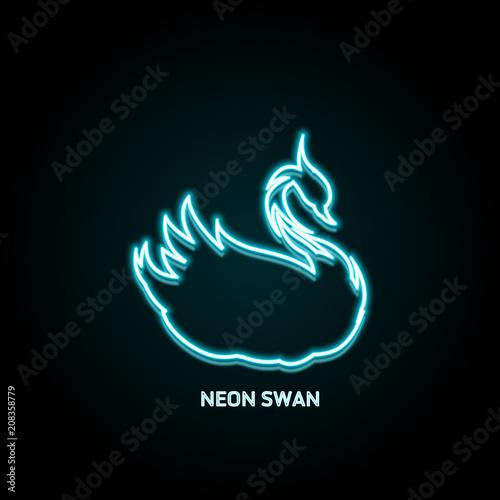 Swan bird neon shiny icon, vector illustration