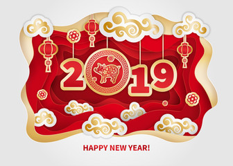 Pig is a symbol of the 2019 Chinese New Year. Greeting card in Oriental style. Frame, floral elements, lanterns and clouds around Golden zodiac sign Pig on red background. Paper cut art © ledelena