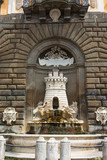 Nepi in Lazio, Italy. Town hall and fountain