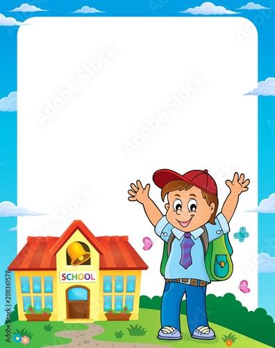 Canvas Voor kinderen Happy pupil boy theme frame 1