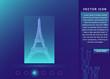 Eiffel tower icon. France , Paris landmark