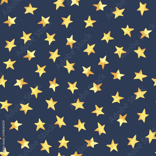 Seamless pattern of hand drawing yellow simple stars in cartoon childish stile on dark background