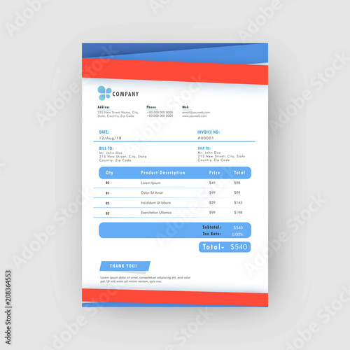 red and blue corporate invoice or estimate template buy photos