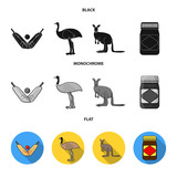 A game of cricket, an emu ostrich, a kangaroo, a popular food.Australia set collection icons in black, flat, monochrome style vector symbol stock illustration web.