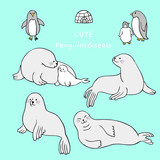 Cartoon cute pole animals, Seal and penguin vector. - 208367168