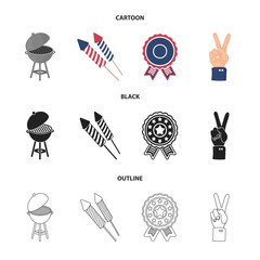Barbecue, salute, voting ebblema, victory. The patriot day set collection icons in cartoon,black,outline style vector symbol stock illustration web.