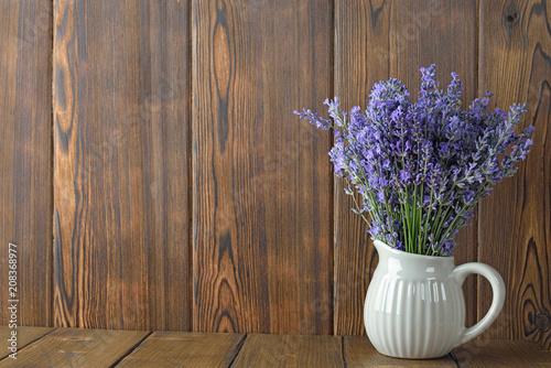 Bouquet of fresh lavender in a jar - 208368977