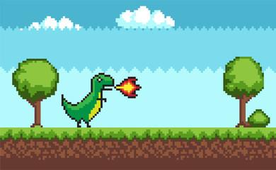 Pixel T-rex on Outdoor Walking Vector Illustration
