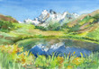 Panoramic view of idyllic mountains in the Alps with fresh green meadows in bloom, lake and flowers on the foreground. Watercolor hand drawn illustration. - 208374936