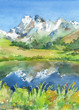 Panoramic view of idyllic mountains in the Alps with fresh green meadows in bloom, lake and flowers on the foreground. Watercolor hand drawn illustration. - 208374971