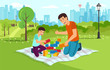 Cartoon dad with son in park collect constructor - 208374994