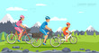 Cartoon family riding on bicycles. Mountains - 208375157
