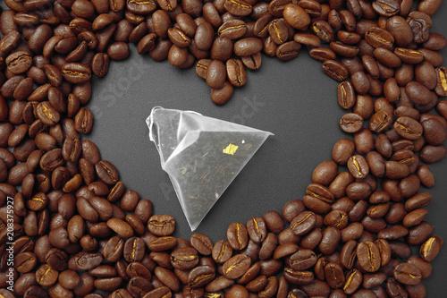 Fotobehang Koffiebonen cereal coffee in bulk on a black background.