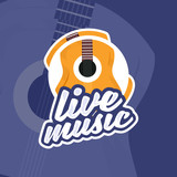 Guitar logo, live music badge vector template