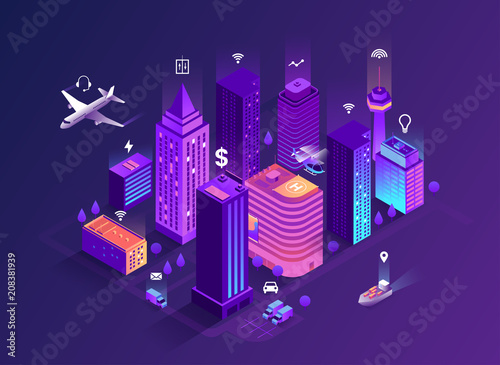 Smart city isometric illustration. Intelligent buildings. Streets of the city connected to computer network. Internet of things concept. Business center with skyscrapers. Eps 10 - 208381939